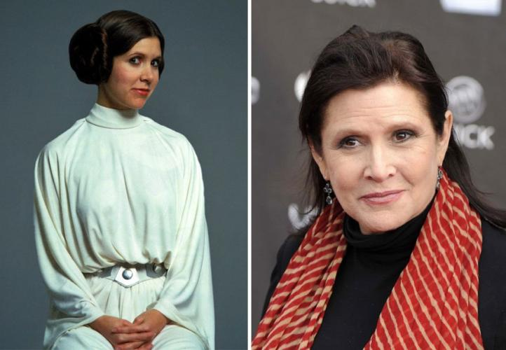 Princess Leia then and now
