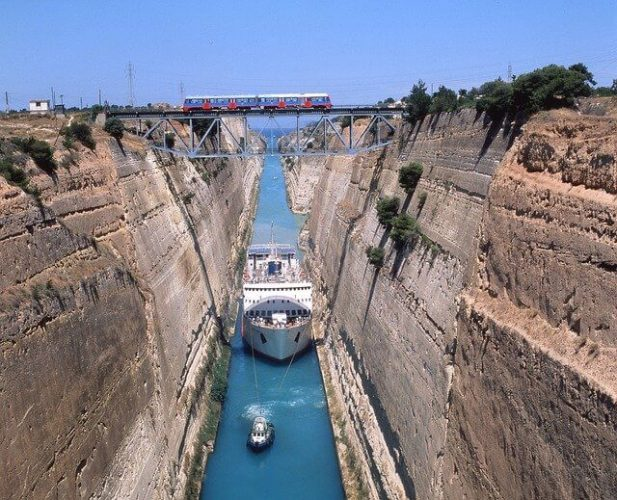 A picture of the Corinth Canal that crosses the Corinth Isthmus