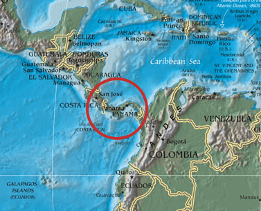 The image of the Panama Isthmus