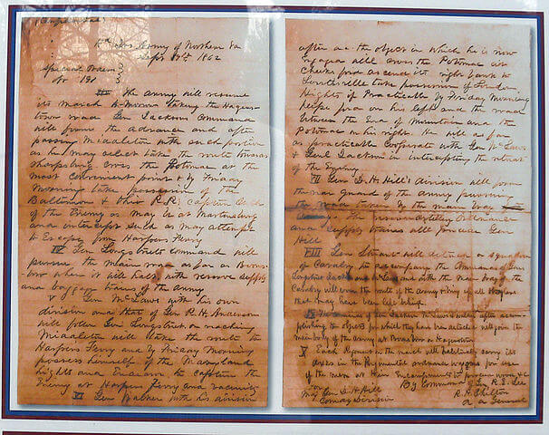 A copy of General Robert E. Lee's Special Order 191. The Battle of Antietam Facts