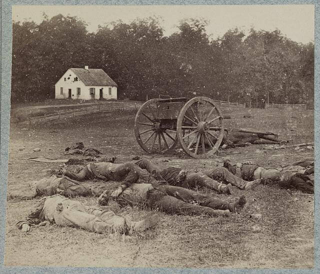 Dead Corpses laying near the Dunker Church