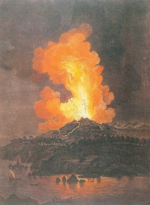 Early painting of Mount Etna eruption