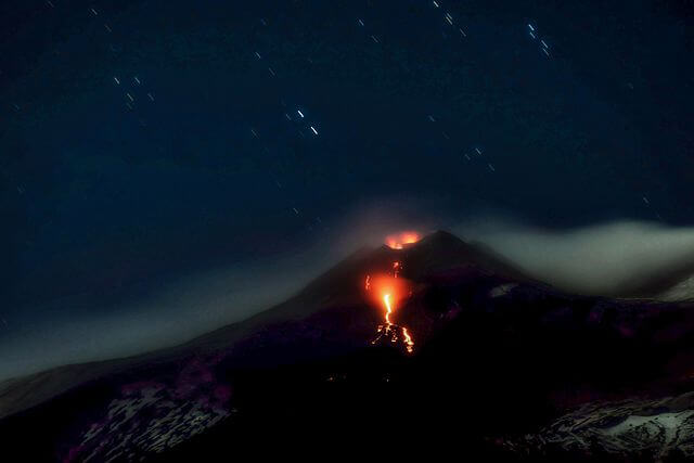 A picture of Mount Etna eruption