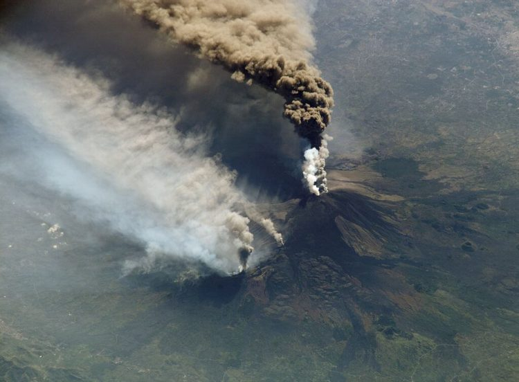 A picture of Mount Etna eruption taken from the space